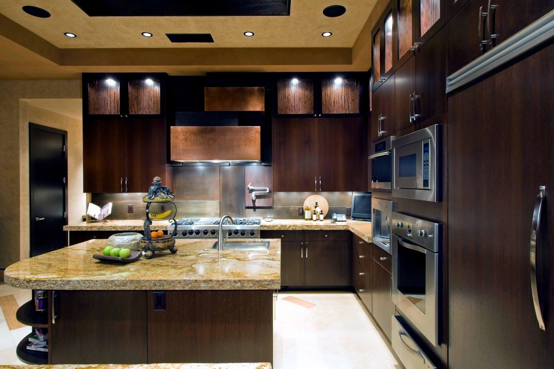 Modern kitchen in blog about kitchen plumbing problems.